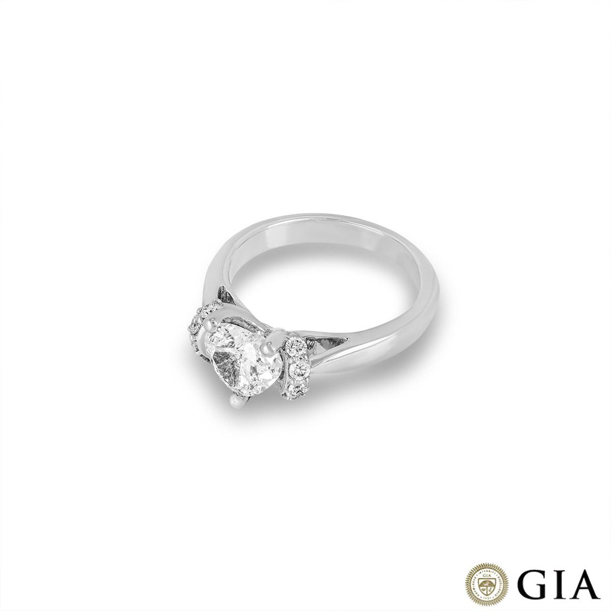 18k White Gold Heart Cut Diamond Ring 1.20ct F/SI2